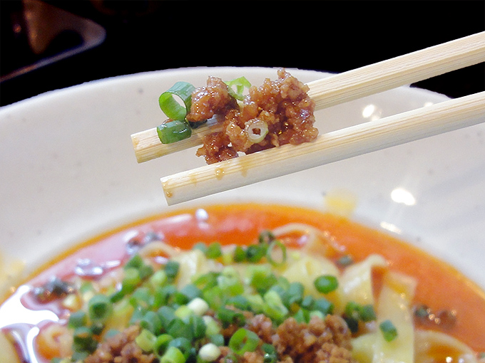 杏亭担々麺のミンチ