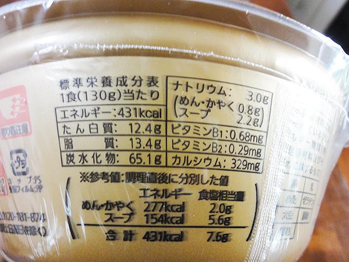 まるぎん商店カップ麺栄養価